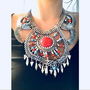 H&M Large bib tribal necklace silver beaded